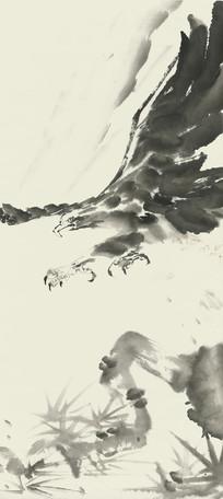 老鹰水墨画