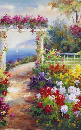 地中海花园景油画