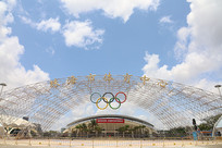 蓝天白云珠海市体育中心大门