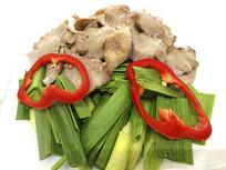 餐厅生食材摆盘-蒜苗小炒肉