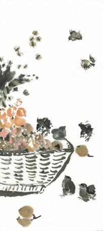雏鸡水墨画