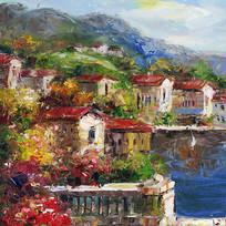 地中海欧式风景油画