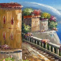 房子建筑地中海画