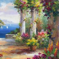 花园景地中海风景油画