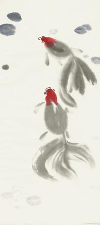 金鱼水墨画