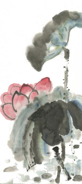 水墨荷花装饰画