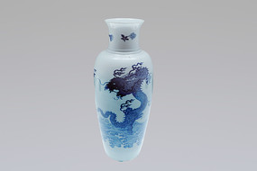 青花海水双龙戏珠纹瓶