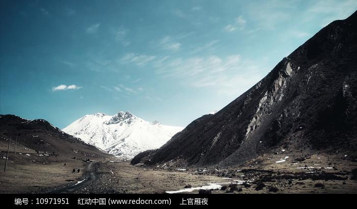 草原和雪山图片