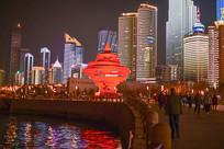 岛城夜景-五月的风雕塑