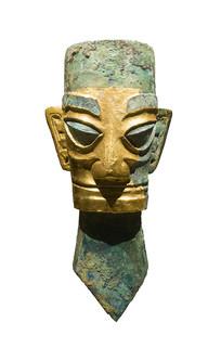 三星堆文物戴金面罩铜人头像正面像