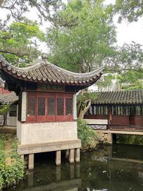 苏州拙政园凉亭景观-松风水阁