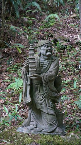 十八罗汉石雕-托塔罗汉