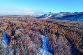 大兴安岭冬季林海雪原风光