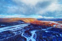 大兴安岭冬季山林冰河雪景