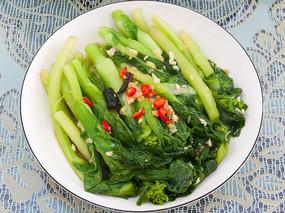 家常菜炝炒蒜蓉菜心