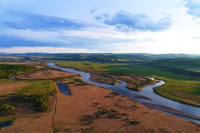 呼伦贝尔林区早春原野河流