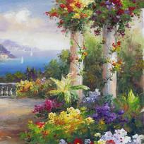 建筑花园风景油画