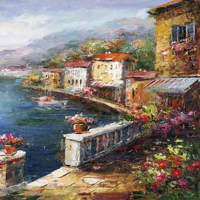 欧式地中海风景油画