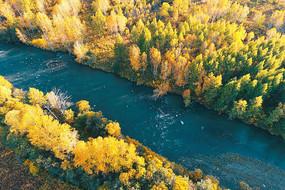 大兴安岭河流树林秋色