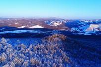 航拍大兴安岭冬季雪域山林