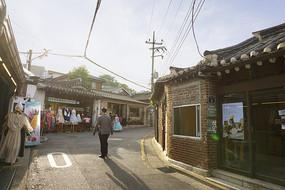 韩国北村韩屋村的斜阳