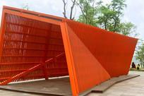 现代园林建筑-红色长廊