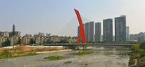 成都世纪城路跨府河大桥全景图