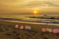 美丽的海岸沙滩晨光