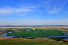 额尔古纳河牧场河流风光