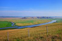呼伦贝尔草原蜿蜒的河流