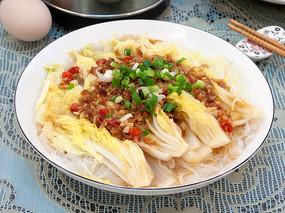 美味菜品蒜蓉菜心粉丝蒸菜