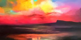 天空火烧云风景画