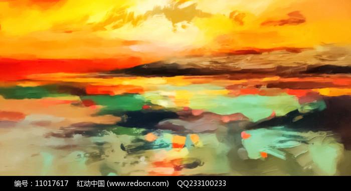 云彩晚霞壁画图片