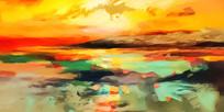云彩晚霞壁画