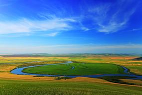 额尔古纳河牧场河流