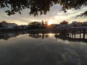 湖镇云湖公园夕阳风景