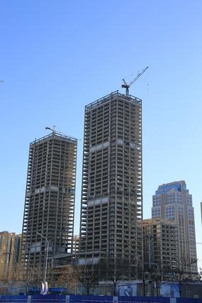 在建框架大楼建筑工地