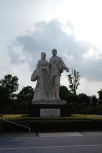 董永七仙女雕像竖构图