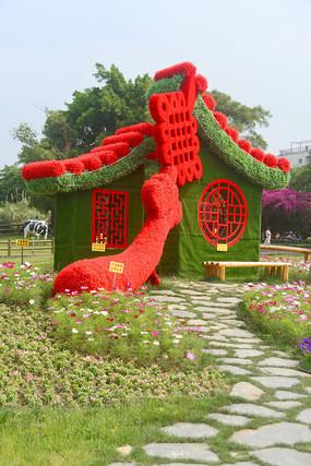 中国结如意和中式房子
