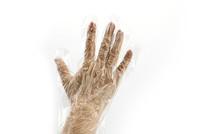 戴一次性手套摄影图