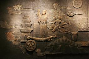 古代人物神话故事浮雕背景