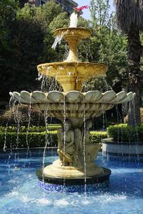 西式中庭水景园林喷泉-天使雕塑