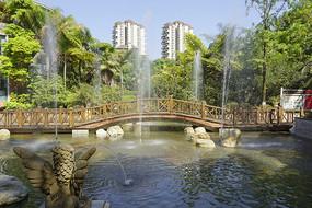 中西合璧园林-小桥流水喷泉水景