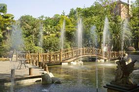 住宅楼盘小桥流水喷泉水景园林