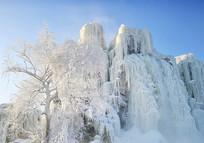 雾凇岛冰瀑和雾凇树