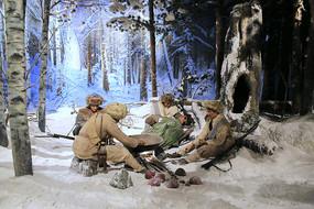 东北抗日联军林海雪原场景蜡像