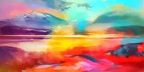 丙烯风景抽象油画