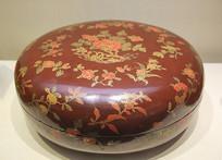 彩漆描金折枝花卉圆盒清代