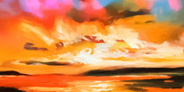横幅抽象风景油画