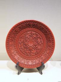 红雕漆勾莲八宝花卉漆盘清代